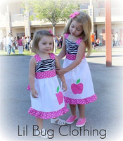 Custom Boutique Clothing Back to School Pink Zebra Apple Jumper Dress