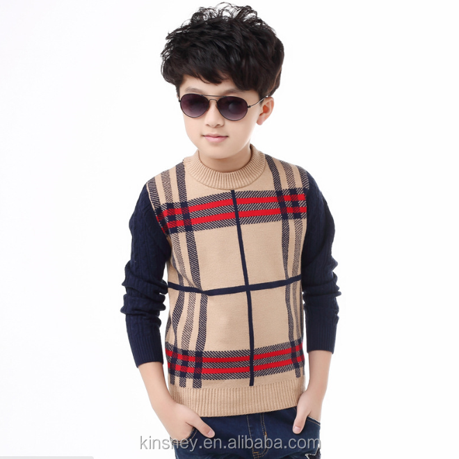 KS10170B Simple fashion checked pattern wool sweater design for boys