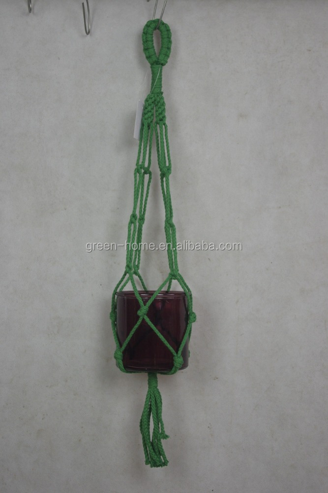 Rope flower pot hanger green color