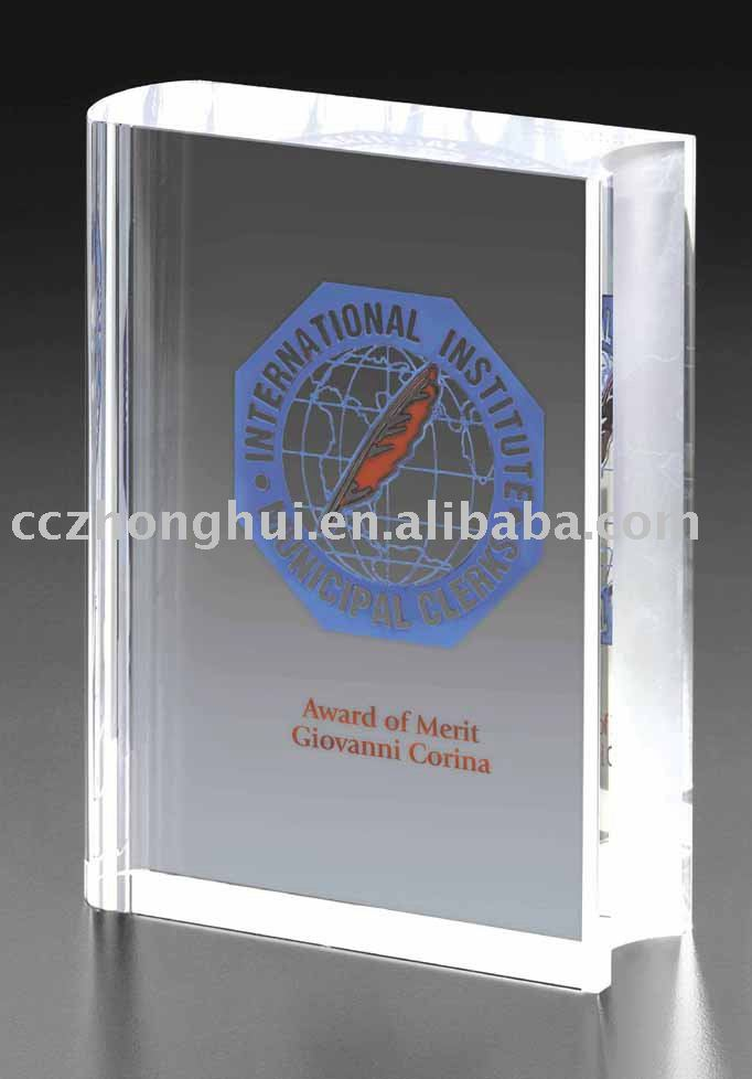 2016 Customized logo crystal book trophy