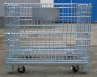 Galvanized or PVC coated industry foldable metal wire mesh storage cage