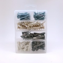 100 pieces plastic wall plug and zinc anchor assortment with screws
