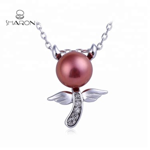 Wholesale New Halloween Design S925 Sterling Silver Angel Devil Jewelry Real Natural Pearl Pendant Necklace