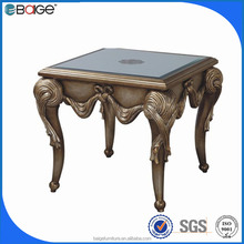 E-1581 antique hand carved Chinese wooden end table with top glass