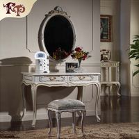 2015 best price new design modern Europe fabric dressing table Rococo armoire with drawer-classic home furniture