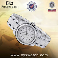 Good Crystal White Bracelet Watch with Silver Stone Ring Surface Women Watch