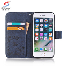 Luxury diamond folding flip mobile phone wallet pu leather case for iphone 8