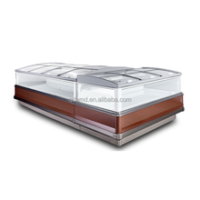 Double island supermarket refrigerated display case for fronzen food