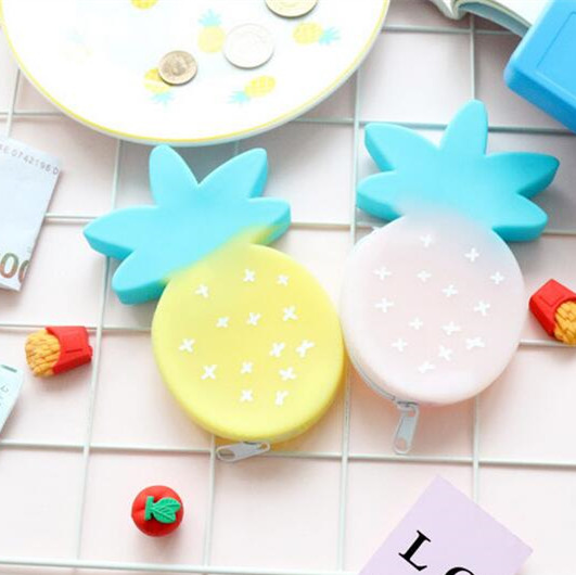 Cute Pineapple Shaped Silicone Small Coins Zippers Purses Key Pouch