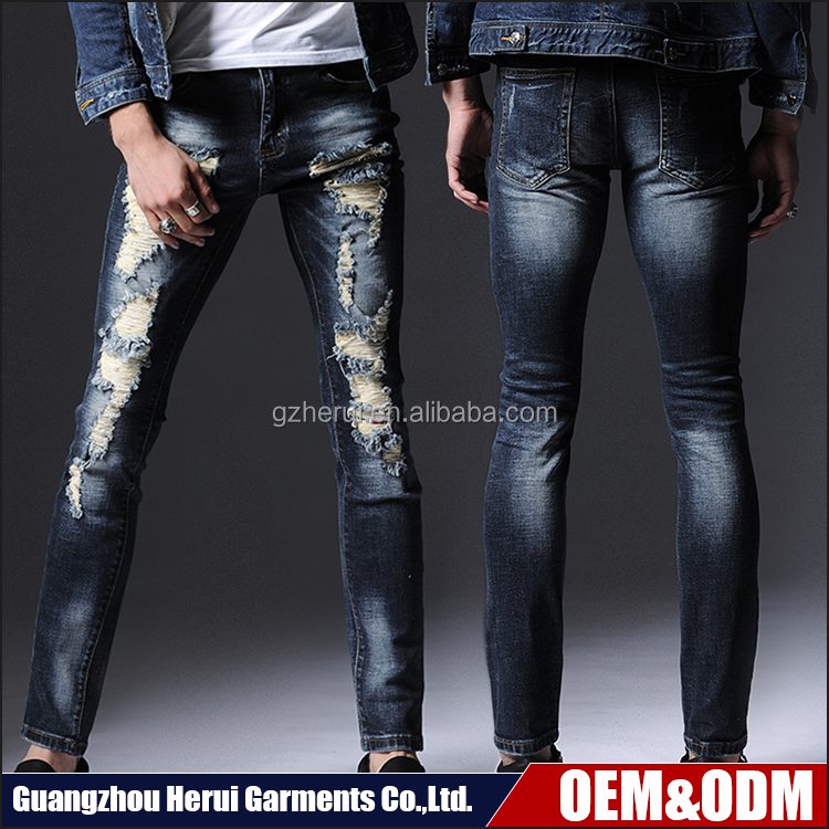 Top Selling Fashion 100% Cotton Denim Jeans Trousers Stock Wholesale Price Men Destroyed Vintage Skinny Jeans Pants