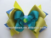 New styles design for 2013 larger mix color fashion hair bows for girls ribbon material bows