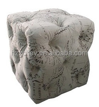 Crystal Button Tufted Upholstered Fabric Corner Ottoman Bench Stool