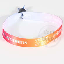 Gift disposable colored plastic lock polyester wristbands fabric bracelet