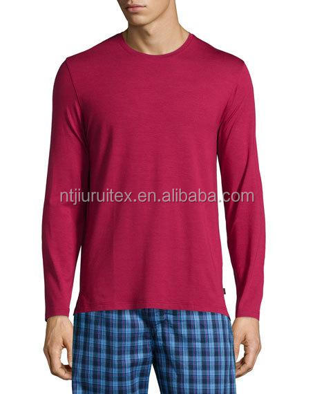 Men's Solid Long Sleeve Cotton Jersey Lounge Tee/Undershirt