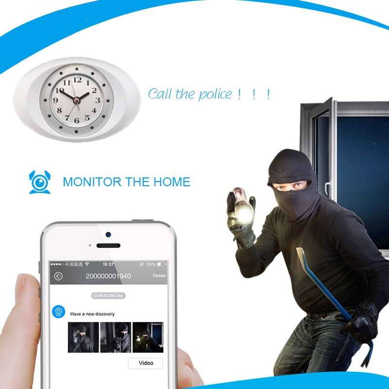 Exclusive Wifi Clock Camera, Mini Wireless IP Camera, Pinhole Hidden Alarm Clock Spy Security & Surveillance Camera IPC100