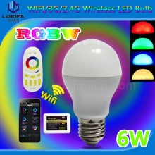 New tech 2014 phone control e27 rgbw 6w wifi activated bulbs, wifi smart lighting