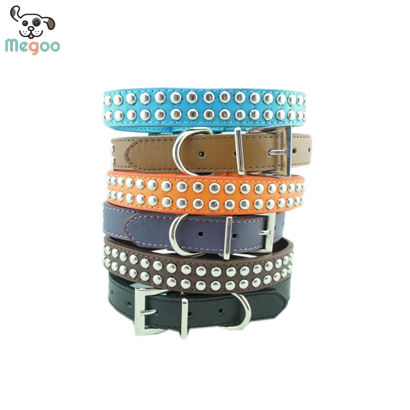 Rivet Studded Dog Collars PU Leather Pet Collars For Dog