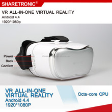 Black and white 5inch 1080p 3d virtual reality video glasses to watch movies and play games