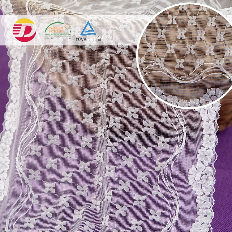 5.2cm height tulle white embroidered border asia lace