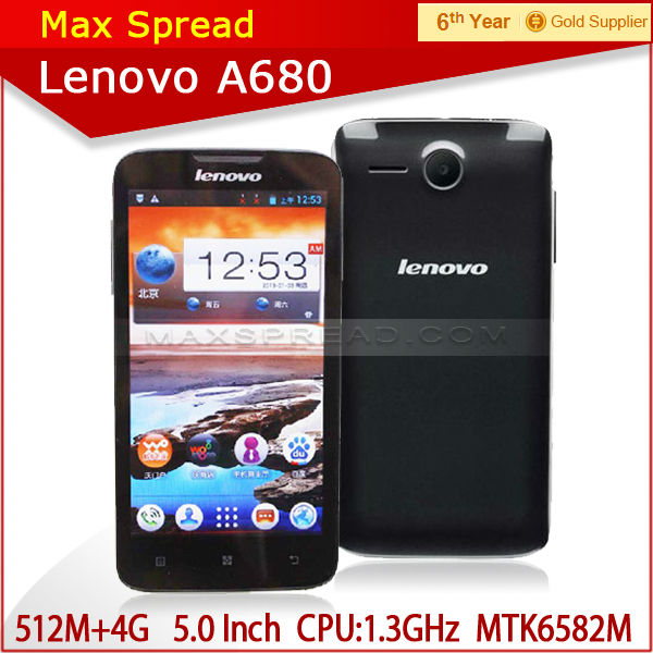 Multi-languages 5 inch Lenovo A680 3G Android 4.2 Dual SIM 854x480 2013 newest cell phone