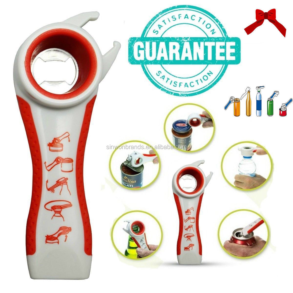Home Kitchen Multifunction 5 in 1 Bottles Jars Cans Manual Opener Tool
