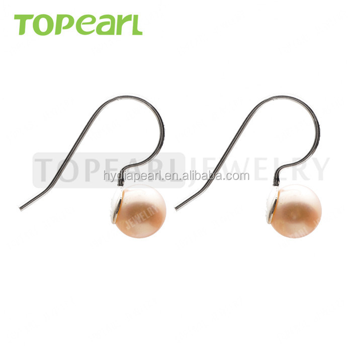 7.5-8mm Round Light Pink Freshwater Pearls 925 Sterling Silver Earrings for Women Girls SE215