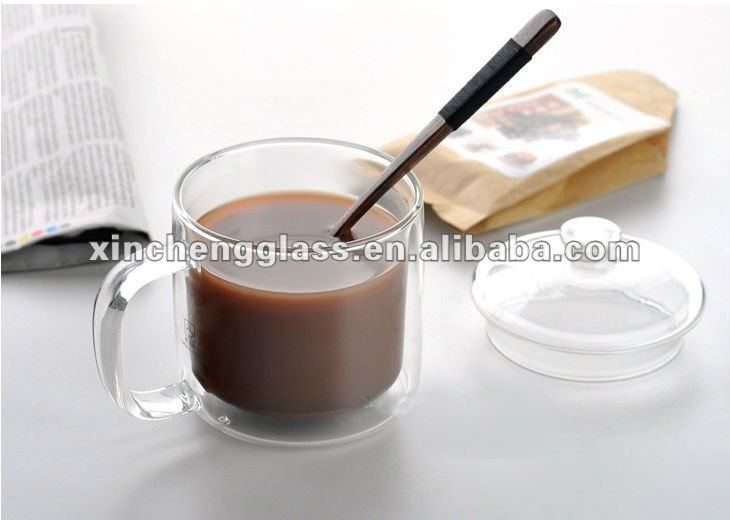 Chinese unique environmental bulk drinking glass tea cup with handle,tray,logo