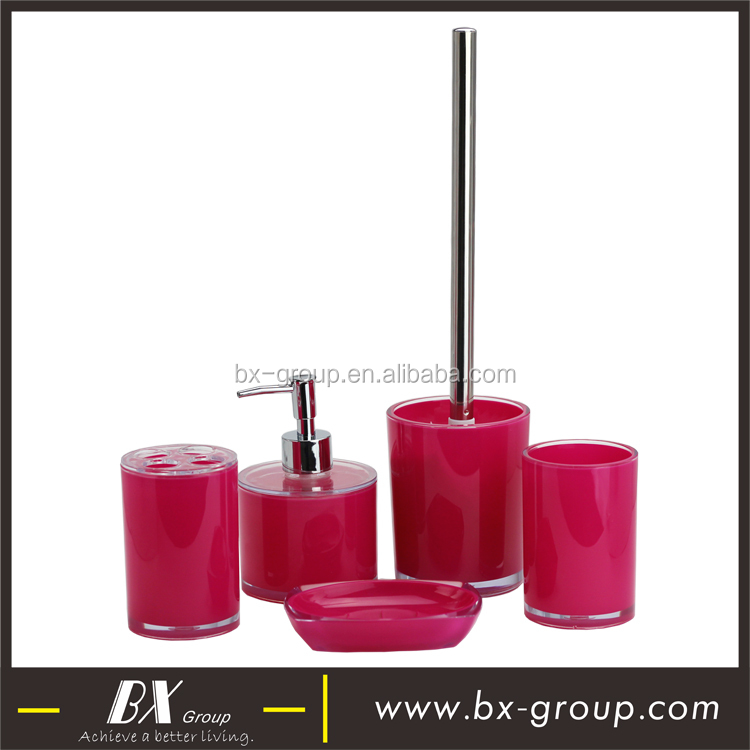 BX Group red cheap 5 PCS plastic bathroom collection lotion dispenser, tumbler, toothbrush holder, soap dish