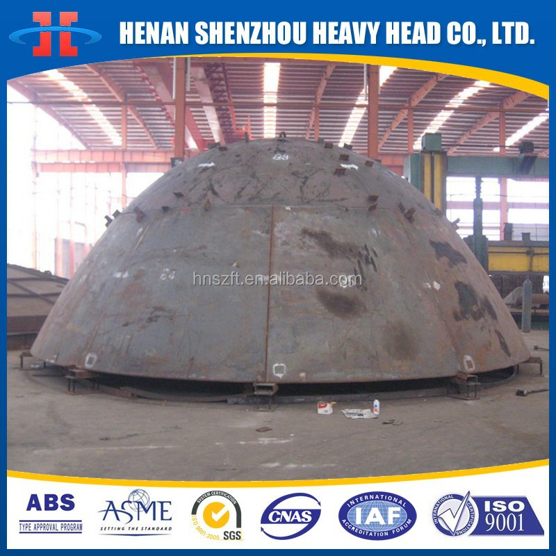 Large Scalloped segment Spherically dished bottom Hemispherical hemispherical dished end head