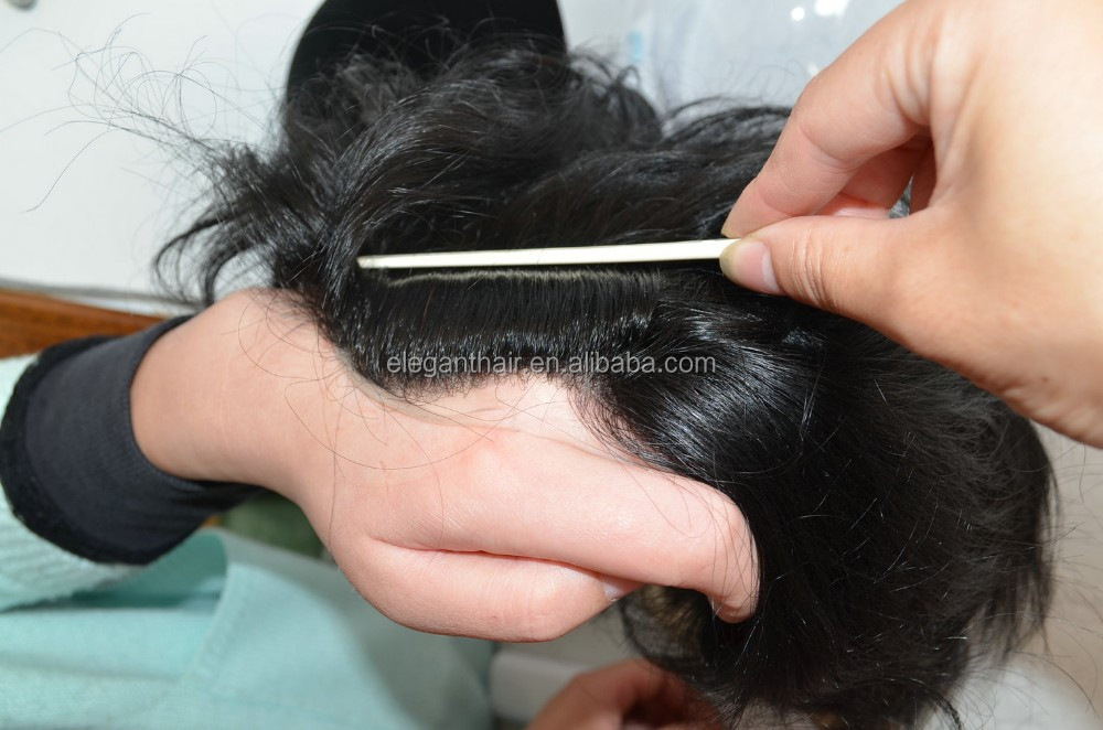 Human virgin hair super thin pu skin base men toupee