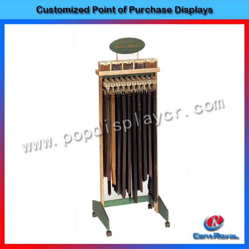 Customized design modern retail store wooden belt display stand