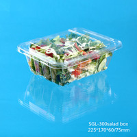 Widely used disposable plastic salad packing container with separate lid and fork made in china