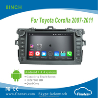 "8"" Android 4.4.4 Car radio for Toyota Corolla 2006-2011with Quad-core 1024*600 Resolution 16GB Flash Mirror Link"