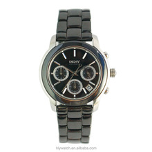 2016 Two-tone mechanical ceramic watch with black band and stainless steel case, ceramic bezel and used for business man.