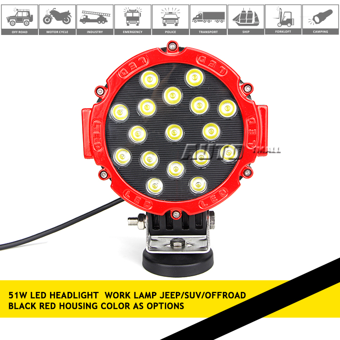 car led Driving light 51W 10-30V DC led work light for heavy duty,auto parts,trucks 371-51