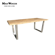 simple style elm wood top 180cm stainless steel dining table designs