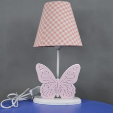 TF17002 cartoon table light iron wooden study reading butterfly art decoration with fabric lamp shades night energy saving lamp