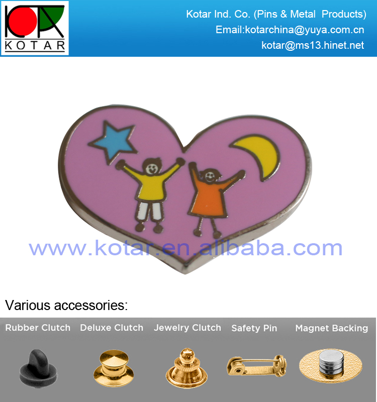 custom heart shape new enamel lapel pin