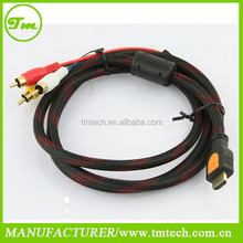 1080P 5 Feet 1.5m HDMI Male to 3 RCA male Video Audio AV Cable Adapter For HDTV DVD