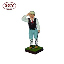 Custom resin life size golfer statue with a base for home decoration
