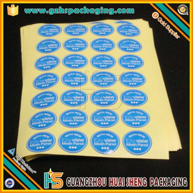 Custom blue printed PVC round die-cut vinyl sticker/ adhesive car window decal