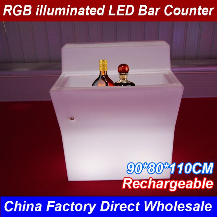 2017 New Commercial Outdoor Furniture Led Illuminated Combined Rechargeable Led Wine Bar Counter