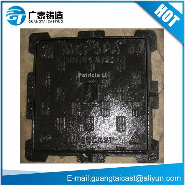 En124 D400 Square Cast iron manhole cover with low price