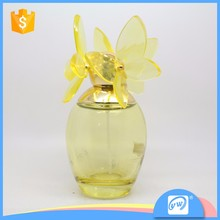 A3287-100ml graceful glass spary perfume bottle with butterfly cap