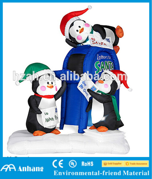Christmas Inflatable Penguins with Postbox
