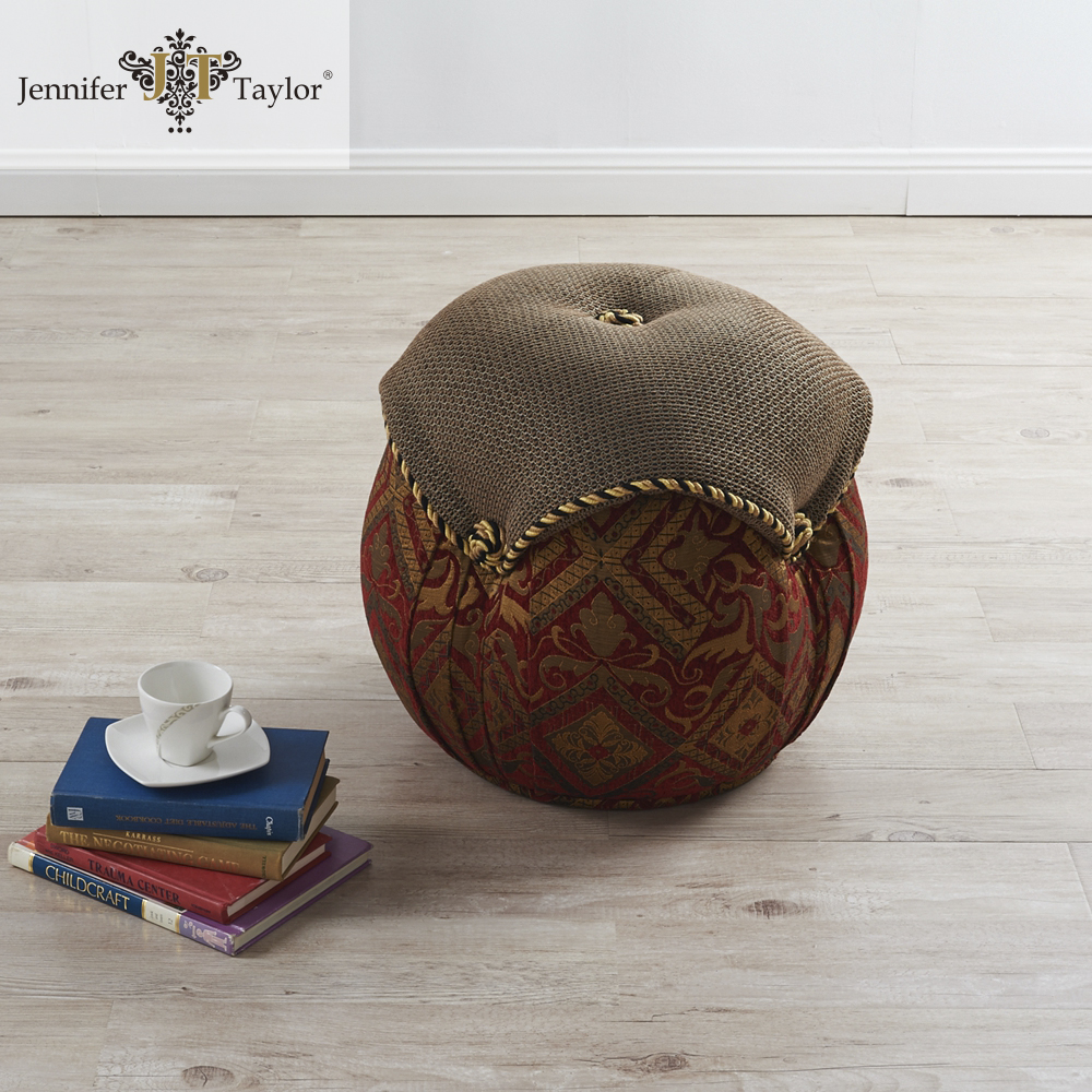 Home furniture tough fabric upholstered ottoman/durable high quality furniture wooden frame upholstered handmade stool