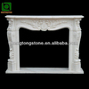 Floral Design White Marble Gas Fireplace Mantel