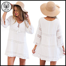 Spring 2017 Women Summer Dress Female Sexy Hollow 3/4 Sleeve Lace Boho Beach Dress Casual Loose White Short Mini Dress vestido