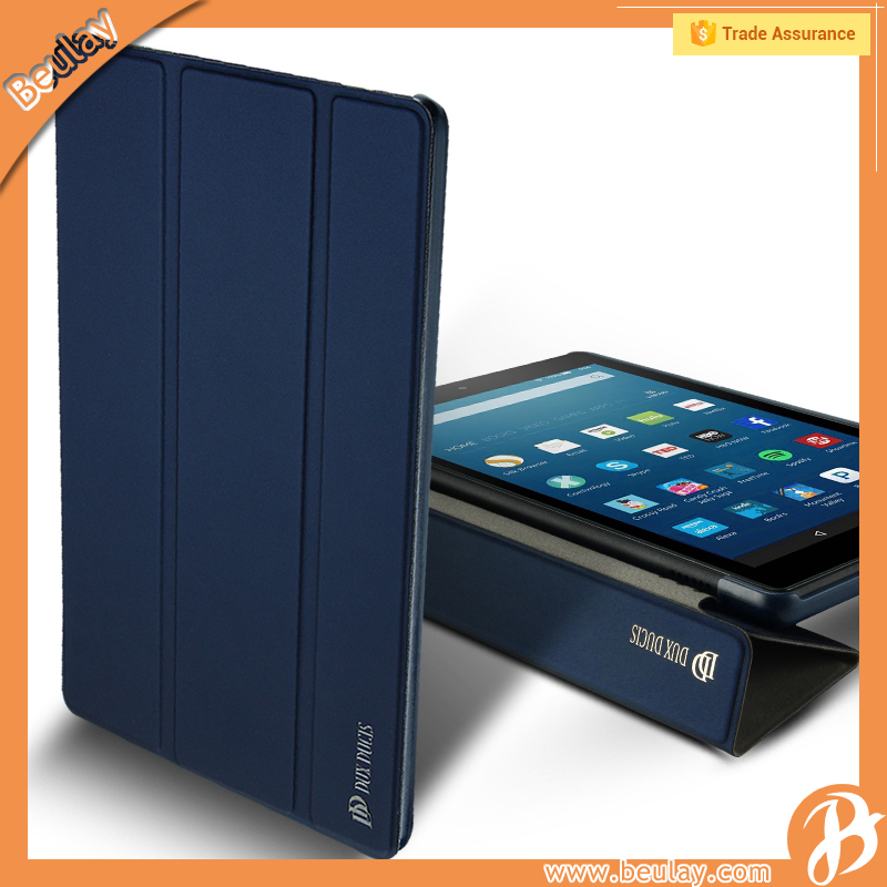 Magnetic Leather Folio with Stand Case Cover For Amazon Kindle Fire HD 8