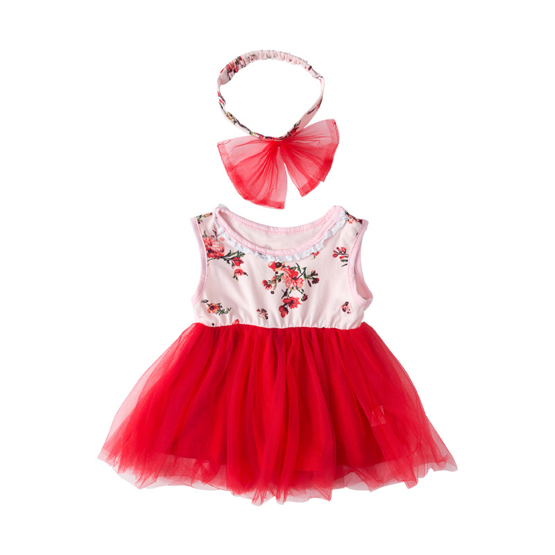 cheap toddler baby girl kids cotton little children print flower sweet dress for factory wholesale